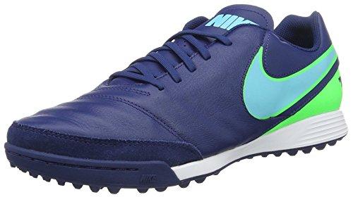 Nike Tiempox Genio Ii Leather Tf, Scarpe da Calcio Uomo, Blu (Coastal Blue/Rage Green/Polarized Blue), 44 EU
