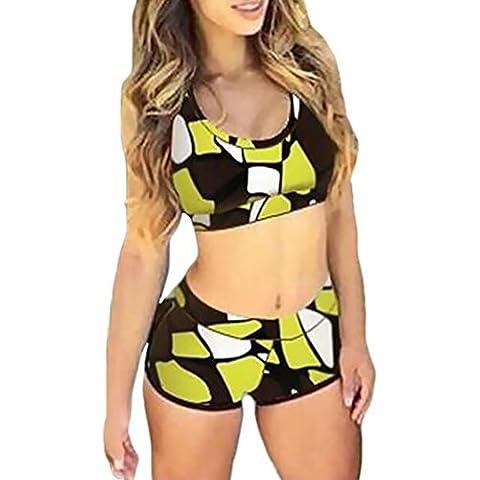 CeRui Mujer Impresión Floral De Alta Cintura De Dos Piezas Elegante Bikini Trajes De Baño