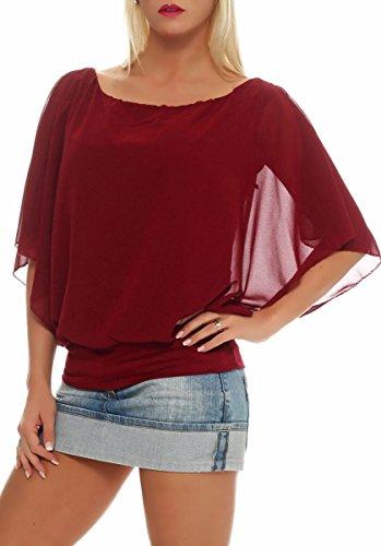malito Damen Bluse im Fledermaus Look | Tunika mit Rundhals und breitem Bund | Blusenshirt kurzarm | Elegant �?Shirt 6296 Bordeaux