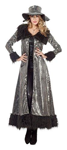 Silber Kostüm Jacke - Karneval-Klamotten Jacke Pailletten Karneval Show Mantel Pailletten Kostüm Damen Silber mit Plüsch Damen-Kostüm Pimp Kostüm Größe 40