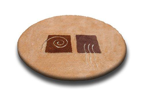 Ilkadim Vonella - Alfombra de baño (Redonda, 80 cm de diámetro, Antideslizante), diseño de salmón, salmón, Redondo, 80 cm