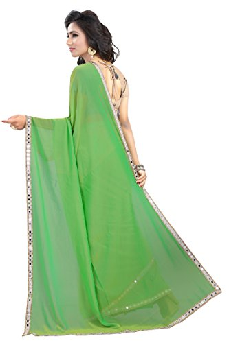 Jenny Fashion Women's Georgette Saree (Mirrorpgreen,Parrot Green,Free Size)