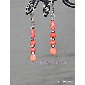 Natürliche rosa Korallenohrringe, Hämatite, minimalistische Anhänger, Edelstahlhaken, Geschenkidee
