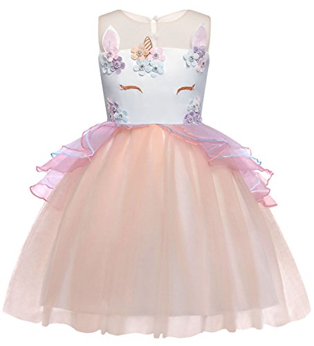 8c700a5b5696 AmzBarley Girls Unicorn Tutu Dress Tulle Flowers Party Fancy Princess Dress  for Kids Girls Halloween Birthday