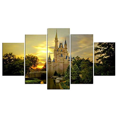 Canvasaint Bilder Leinwand Wandgemälde Wand Kunst Bild der Burg Leinwand Dekoration ohne Rahmen