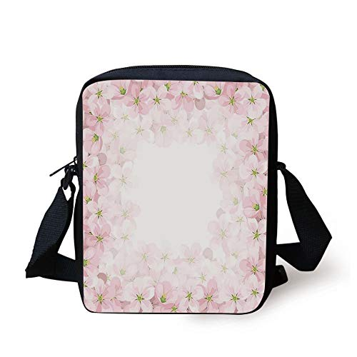 Floral,Romantic Apple Flower Petals Blooms Nature Essence Beauty Bouquet Image,Baby Pink Lime Green Print Kids Crossbody Messenger Bag Purse -