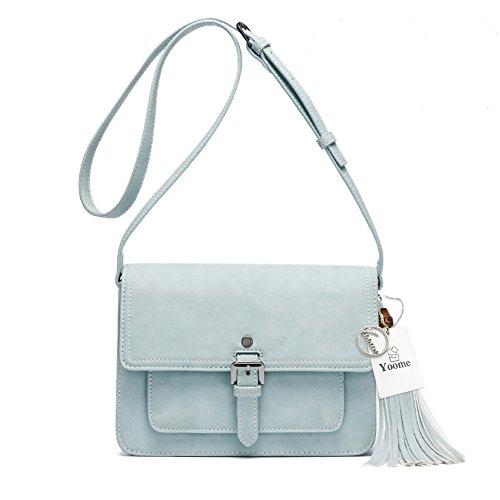 Yoome Quaste Tasche für Frauen Vintage Elegante Taschen Satchel Fashion Single Schulter Messager Taschen - hellblau