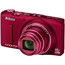 Nikon Coolpix S9500 Camera Red 18.1MP 22xZoom 3.0OLED FHD 25mm Wide Lens Wifi