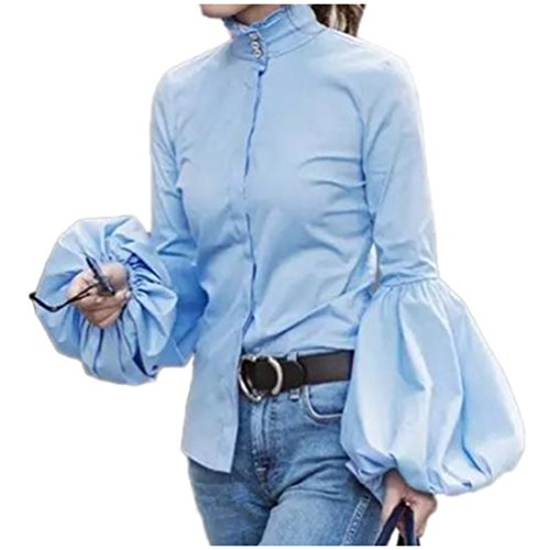 CuteRose Women's Single-breasted Turtleneck Work Bishop Sleeve Top Shirt Blue S (Plaid Button Sleeve)