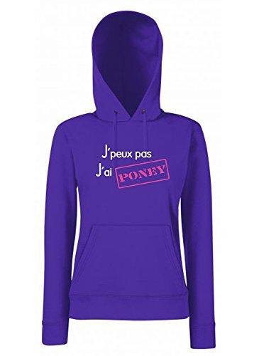 Sweat à Capuche Violet pour Femme équitation J'peux Pas J'Ai Poney Logo brodé (M)