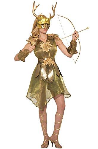 n der Jagd Damen Kostüm Gold Gr. S/M Wald Hirsch Mythologie Jägerin Kriegerin Waldgeist ()