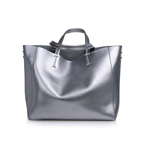 Hunpta Herbst und Winter neue Mode Leder Handtasche große Tasche weiblichen Leder Umhängetasche große Kapazität Shopping Tasche Silber