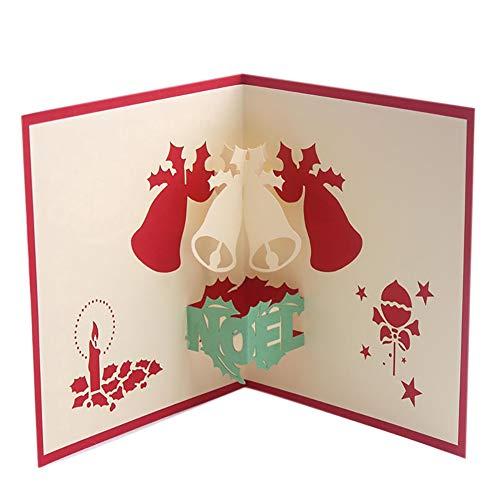 (Newin Star 1 Stück Pop-Up-Weihnachtskarte 3D Grußkarten Weihnachten Glocke Karte mit Umschlag Weihnachtskarte für Frauen Mädchen Männer Junge Kinder)