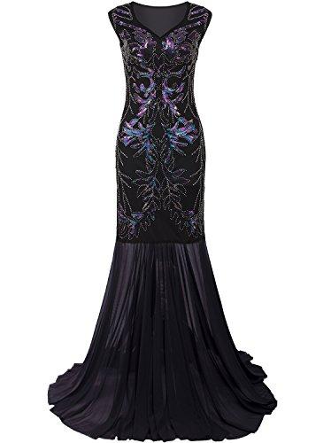Vijiv Damen 1920 Lange Abendkleider mit V-Ausschnitt wulstigen Sequin Gatsby Maxi Abendkleid...