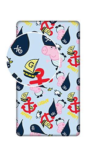 L-S KIDS BOUTIQUE Georges Peppa Pig Spannbettlaken, 90 x 200 cm, für Einzelbett, 100% Baumwolle