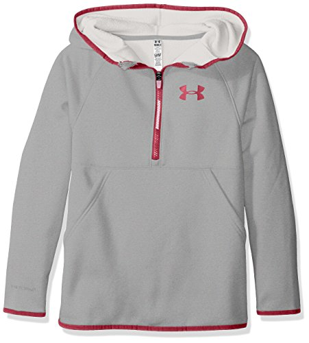 Under Armour Girls' Armour Fleece 1/2 Zip Hoodie, True Gray Heather/Black Cherry, Youth Small
