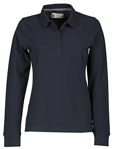 Damen Langarm Polohemd Baumwoll Piquet Polo-Shirt Longsleeve Modell Florence Navy L -