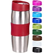 Quantio Bergner Vacuum Travel Mug in Stainless Steel and Plastic 380 ml Available in Different Colours red (Home & Garden)