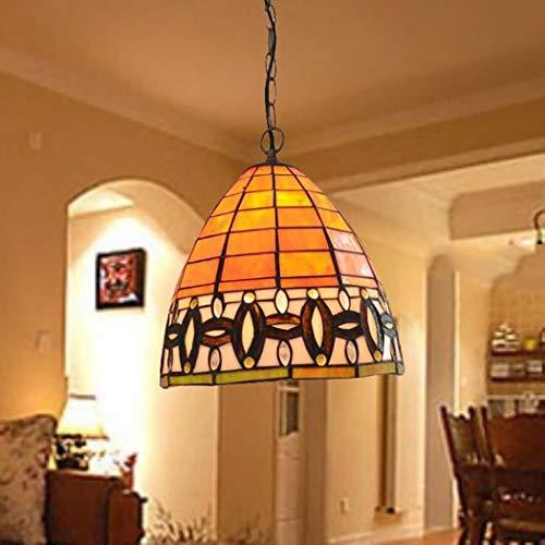 Lampada a sospensione in stile antico tiffany lampadario a forma di cilindro arancione luce in vetro colorato illuminazione in ferro battuto per bar ristorante, 10 pollici