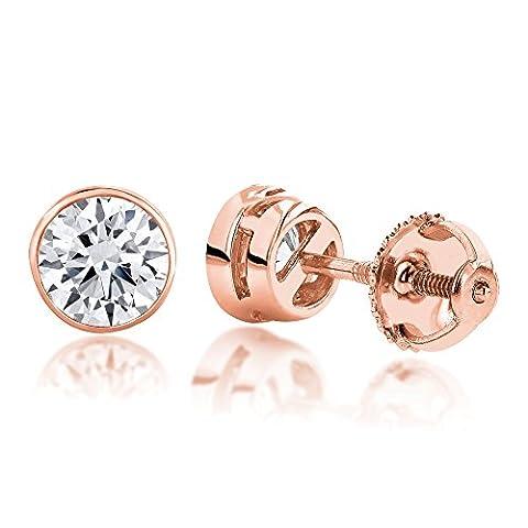 Luxurman 18k Gold Solitaire Round Diamond Bezel Stud Earrings (Rose Gold)