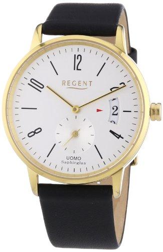 Regent Herren-Armbanduhr XL Analog Quarz Leder 11100233