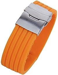 dda081507cf Orange Rubber Watch Strap Band Deployment Buckle Waterproof 22mm