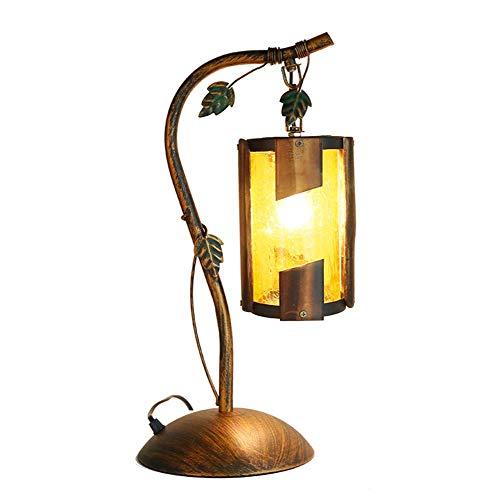 Glas Öl Lampe Schatten (Schreibtischlampe Büro Im Ländlichen Antiken Stil Schlafzimmer Öl Lampe Nachttischlampe Blatt Design Gelb Rissige Glas Bambus Schatten Rustikale Kupfer Schmiedeeisen Tischlampe Mit Schalter)