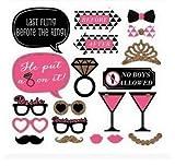 Unicoco Foto Stand Requisiten, 20Stück Pink DIY Party Maske Schnurrbart Maske, Dekoration Zubehör für Geburtstag Hochzeit