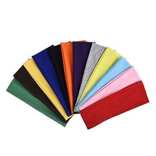 eBoot 12 Pezzi Fascia Capelli Cerchietti Capelli Allungare Elastici Yoga Cotone Colori Misti per Adolescenti, Ragazze e Donne