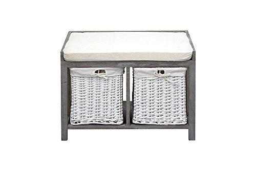 Panca Contenitore Bianca : Rebecca mobili panca contenitore seduta imbottita 2 cassetti legno
