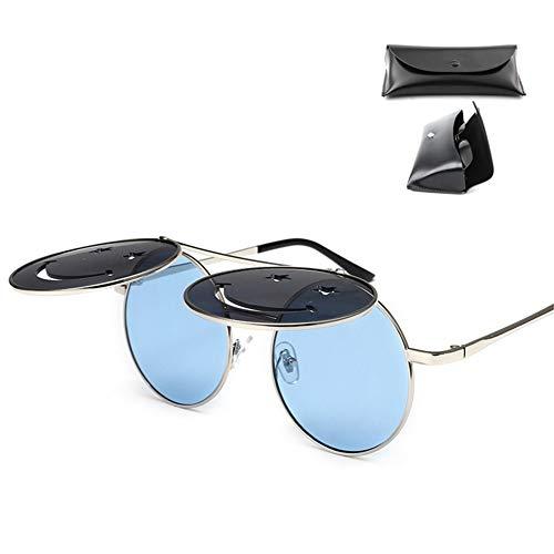 CWYPB Retro Smiley Flip Sonnenbrille, Persönlichkeit Runde Metallrahmen Brille Sonnenschutz Brille mit Geschenkbox UV400 für Reise Strand Einkaufen,B
