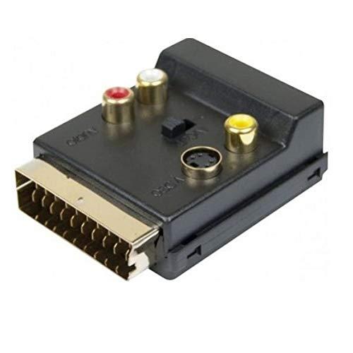 Connect 3x RCA Plus S-Video Scart Stecker/Buchse Adapter-Schwarz Plus S-video