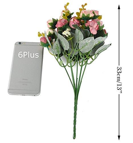 Fiori secchi e confezione da 21 pezzi, in seta, a forma di rose, finto bouquet, matrimonio, decorazione per la casa, confezione da 2 pezzi, color rosa e caffè - 7