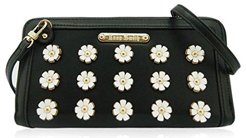 Anna Smith righe 3D di fiori Matinee grossa borsa con scatola regalo Black