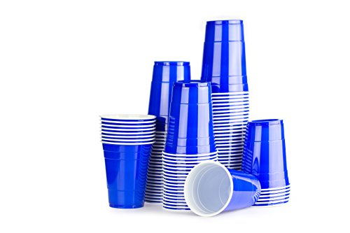 Bleu Gobelets Américains 100 x Blue Cups - Party Beer Pong Original 50cl - Grand jetables Verres en plastique 16oz - Plusieurs couleurs | College & anniversaire tasses - Red Celebration