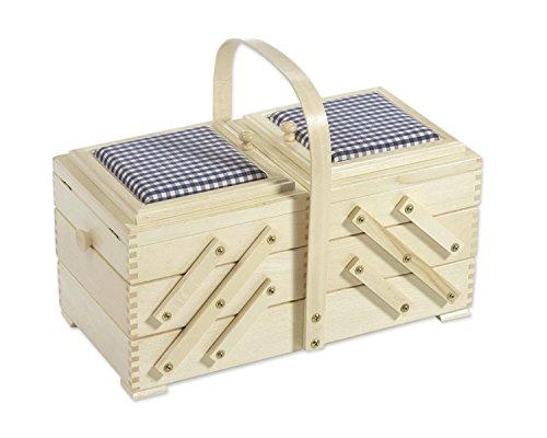 Boîte à couture à plateaux avec carreaux Bleu broches, coussins, bois de hêtre
