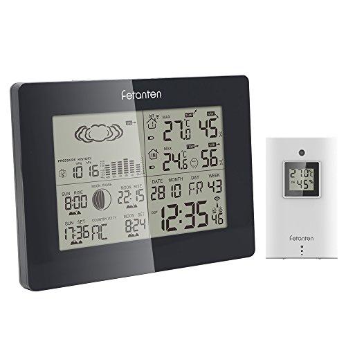 Fetanten WSRC005 Funk Wetterstation, Funkwetterstation mit Außen-Sensor (Barometer, Hygrometer, Temperatur, Luftfeuchtigkeit, Mondphase, DFC Funkuhr)