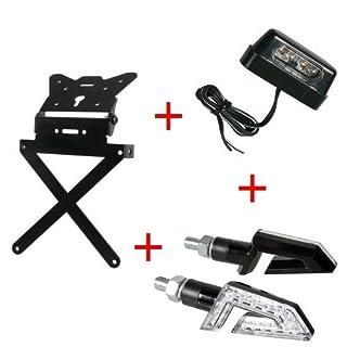 Kennzeichenhalter für Motorrad universal Kit zugelassen + 1Paar Blinker + Kennzeichenbeleuchtung LED Lampa Gilera SMT 502004-04