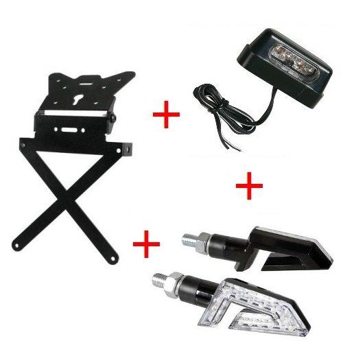Kennzeichenhalter für Motorrad universal Kit zugelassen + 1Paar Blinker + LED Kennzeichenbeleuchtung Lampe HONDA CRF 500x SUPERMOTO 2017-2017 (Led-lampe 1445)