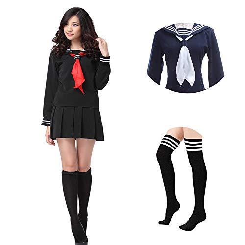 Größe Plus Kostüm Uniform School - Nuoqi Sailor School Uniform Japanischer Anime Lolita Sailor Suit Long Sleeves Schuluniform +Socken