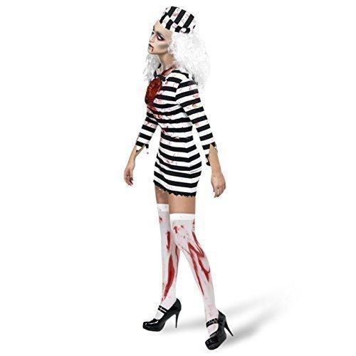 Damen Halloween Sexy Zombie Sträfling Gefangener unheimlich Kostüm Kleid Outfit UK 8-18 - Mehrfarbig, - Sträfling Halloween-kostüme Uk