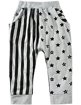 BOBORA Bambino ragazze ragazzi a strisce stelle stampato harem pantaloni casual jogging attivo pantaloni