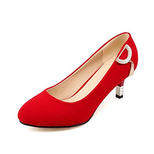 DIMAOL Scarpe Donna Pelle Nubuck Caduta Molla Comfort Tacchi Stiletto Heel Punta Strass per Ufficio Outdoor & Carriera Rosso Nero Rosso
