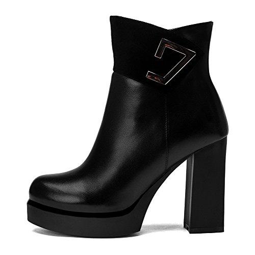 VogueZone009 Damen Schließen Zehe Blend-Materialien Niedrig-Spitze Hoher Absatz Stiefel Schwarz-Metallstück