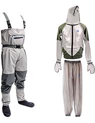 MagiDeal Combinaison Anti Moustiques + Waders Imperméable Salopette Vêtements Protection pour Pêche Randonnée Camping Outdoor