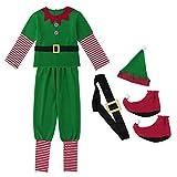 YiZYiF Disfraz Infantil para Navidad Unisex Niños Dsifraces de Elfo Traje de árbol Vestido Top Blusa + Sombrero Disfraz de Santo Equipo del Duende 4-14 Años Verde Hombre 160(S)