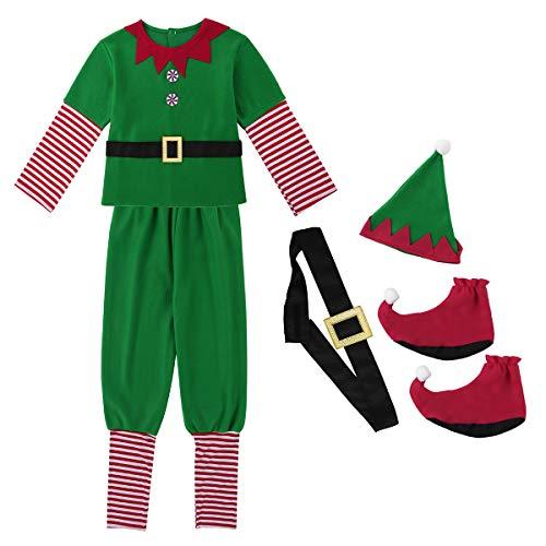 dPois Weihnachten Outfit Kostüm für Herren und Damen Elfen Kostüm Weihnachtself Komplett-Kostüm Weihnachtsmann Cosplay Karneval Fasching Halloween Party Kostüm Herren Large