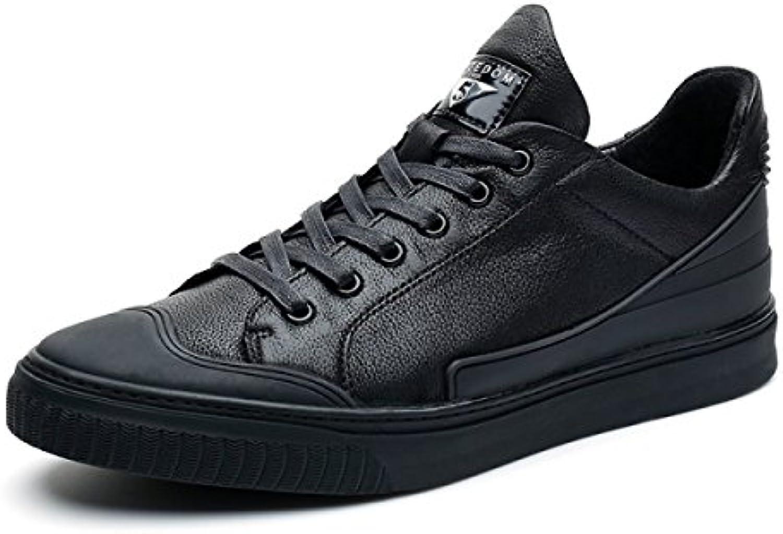 NBWE Zapatos Casuales De Cuero Para Jóvenes Zapatos Deportivos Simples,Black-38 -