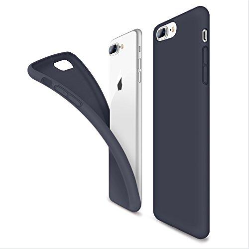 Coque iphone 8 Plus,Coque iphone 7 Plus HUMIXX Soft Liquid Silicone avec Intérieur Micro Fibre Étui Housse Anti-Rayures Anti-Dérapante Protection de Téléphone Housse Case pour Apple iPhone 8 Plus / iP Bleu foncé