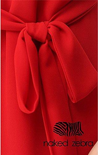 Vestiti Donna Estivi Abiti Corti Chiffon Eleganti Da Sera Cocktai Partito Linea Ad A Vestito Moda Senza Maniche V Neck Con Cinghie Abito Rosso